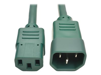 Tripp Lite 3ft Computer Power Extension Cord 10A 18 AWG C14 to C13 Green 3'  - power extension cable - 3 ft