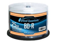Optical Quantum White Inkjet Hub Printable 50 x BD-R 25 GB 6x white
