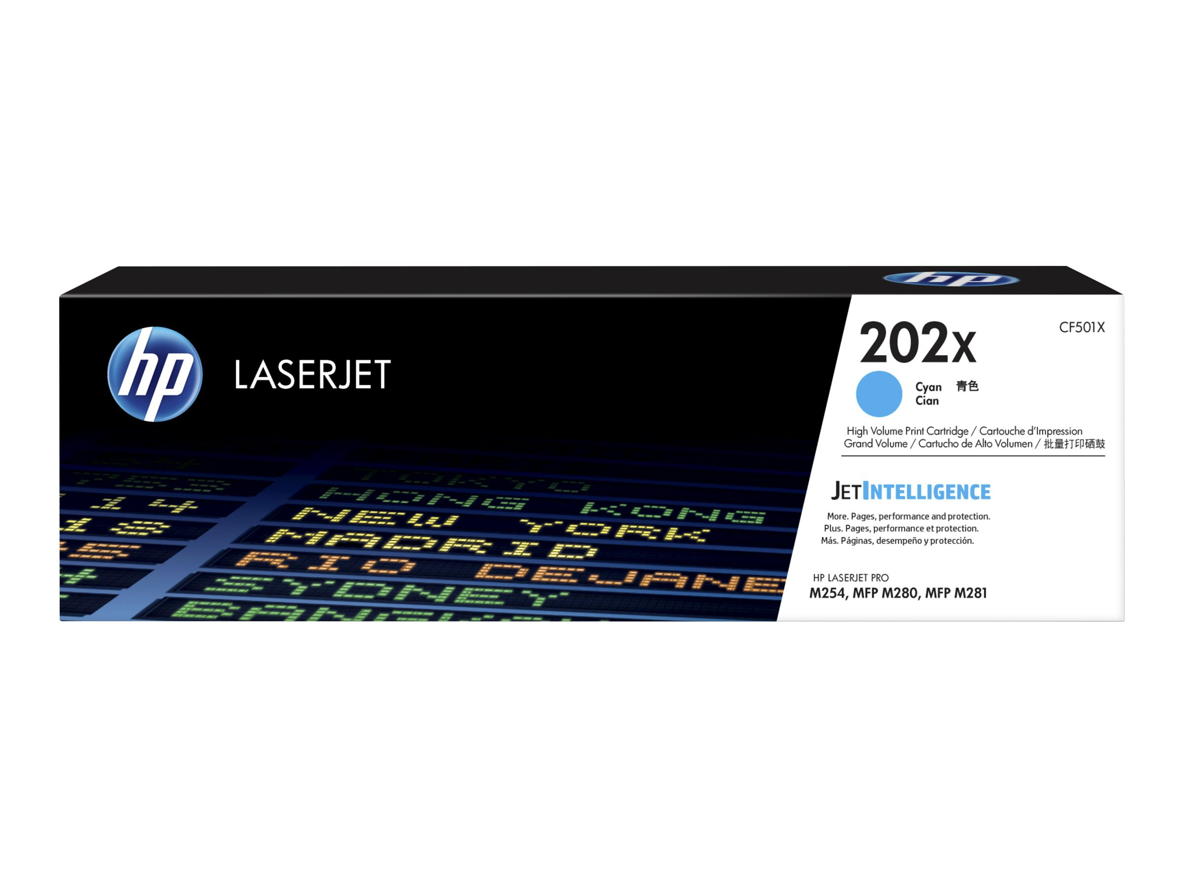 HP 202X - High Yield - cyan - original - LaserJet - toner cartridge (CF501X)