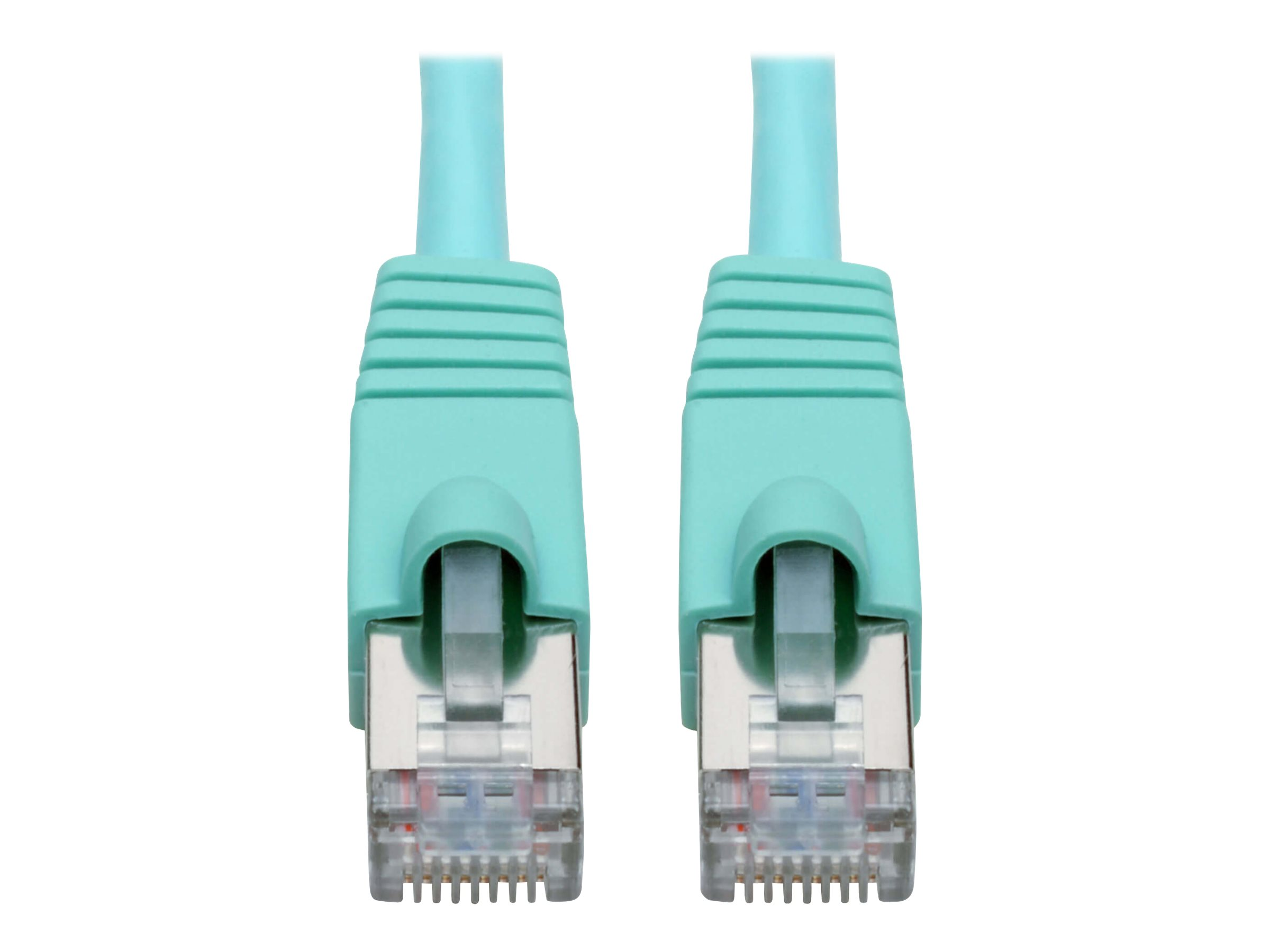 Tripp Lite Cat6a 10G-Certified Snagless Shielded STP Network Patch Cable (RJ45 M/M), PoE, Aqua, 10 ft. - patch cable - …