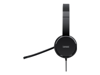 Lenovo 100 - Headset - on-ear - wired - black - for ThinkCentre M80; ThinkPad L15 Gen 1; X1 Carbon Gen 8; X13 Gen 1; ThinkStation P340