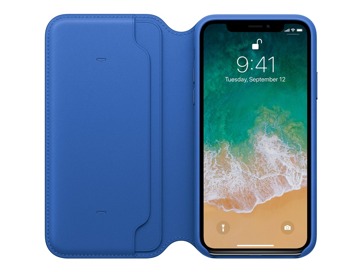 Apple - Flip-Hülle für Mobiltelefon - Leder - Electric Blue - für iPhone X