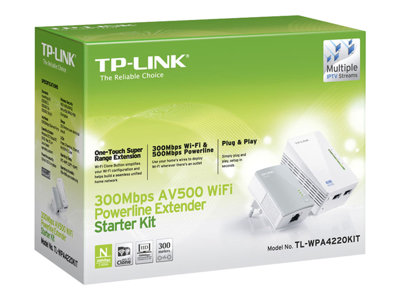 TL-WPA4220KIT AV500 2-Port Wifi Powerline Adapter Starter Kit