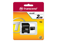 Transcend - Flash memory card (SD adapter included) - 2 GB - microSD