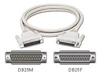 C2G Serial / parallel cable DB-25 (M) to DB-25 (F) 100 ft molded, thumbscrews beige