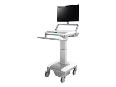 Humanscale TouchPoint Mobile Technology Cart T7 Powered Cart for CPU medical white