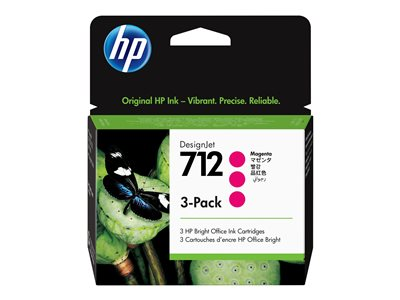 HP 712 - 3-pack - magenta - original - DesignJet - ink cartridge