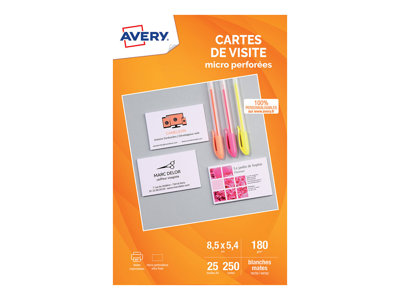 Cartes de visites Avery - 250 Cartes de Visite blanches à Bords Micro Perforés - 85 x 54mm - Impression Jet d'encre