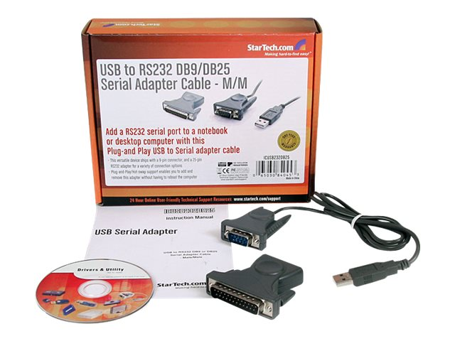 StarTech.com USB to Serial Adapter - 3 ft / 1m - with DB9 to DB25 Pin Adapter - Prolific PL-2303 - USB to RS232 Adapter Cable (ICUSB232DB25)