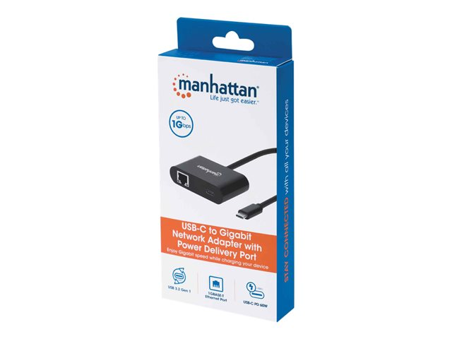 Manhattan USB-C to Gigabit Network and USB-C (inc Power Delivery), 19.5cm, Black, Ethernet RJ45 10/100/1000 Mbps, Power Delivery to USB-C Port (60W), Equivalent to Startech US1GC30PD, Male to Females, Lifetime Warranty, Retail Box