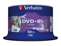 Verbatim - 50 x DVD+R - 4.7 GB 16x - printable inner hub, photo printable surface - spindle