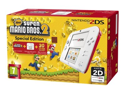 Nintendo 2DS - New Super Mario Bros. 2 Special Edition - handheld game console - white, red - New Super Mario Bros 2