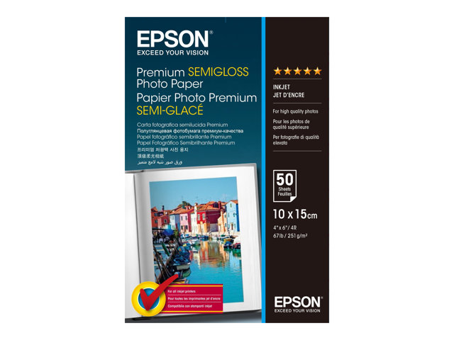 Epson Premium Semigloss Photo Paper - Semi-brillant - 100 x 150 mm - 251 g/m² - 50 feuille(s) papier photo - pour Expression Home HD XP-15000; Expression Premium XP-540, 6000, 6005, 900; WorkForce WF-3620