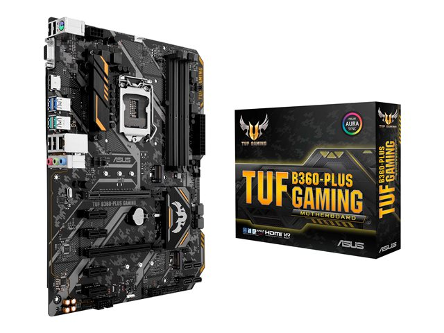 ASUS TUF B360-PLUS GAMING - Carte-mère - ATX - Socket LGA1151 - B360 - USB 3.1 Gen 1, USB 3.1 Gen 2 - Gigabit LAN - carte graphique embarquée (unité centrale requise) - audio HD (8 canaux)