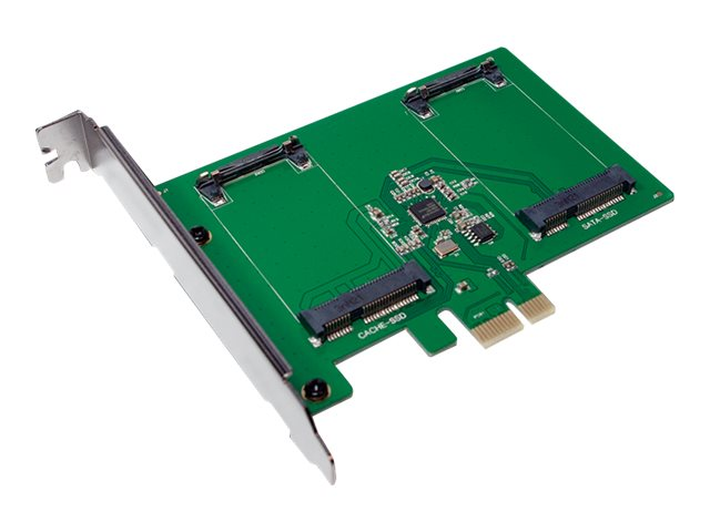 LogiLink PCI-Express Card, 2 x mSATA SSD slots - Speicher-Controller - 2 Sender/Kanal - SATA 6Gb/s - 600 MBps - PCIe 2.0 x1