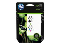 HP 63 2-pack color (cyan, magenta, yellow), dye-based black original ink cartridge