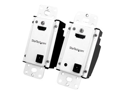 StarTech.com Wall Plate HDMI over CAT5 Extender with Power Over Cable HDMI CAT5 or CAT6 Audio Video Extender Kit 1080p 165ft (50m) (ST121HDWP)