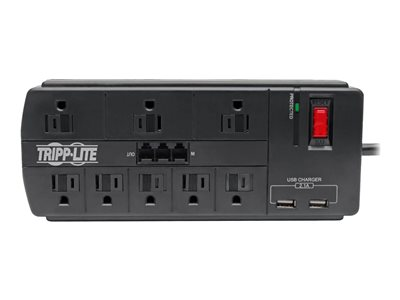 Tripp Lite 8-Outlet Surge Protector Power Strip with 2 USB Ports (2.1A Shared) - 8 ft. Cord, 1200 Joules, Tel/Modem, Black