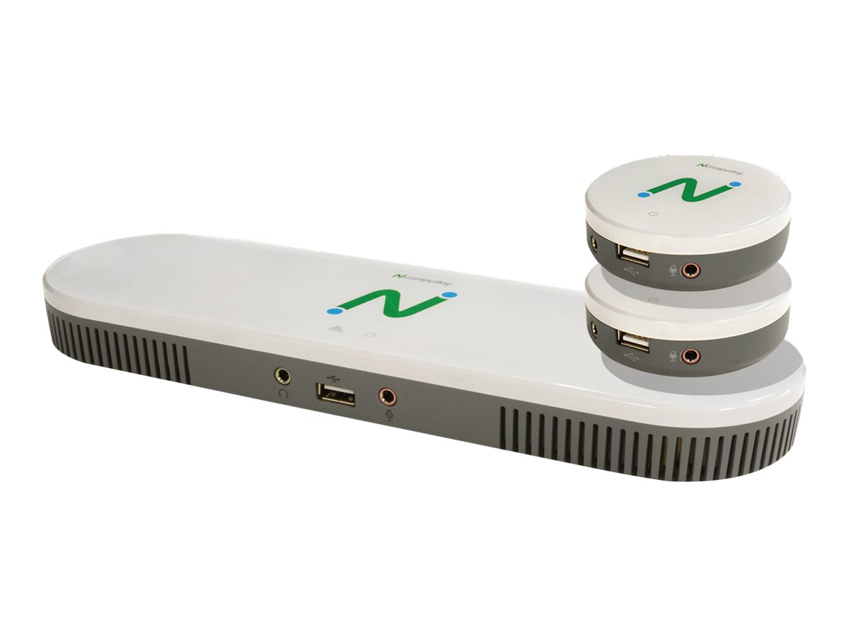 NComputing MX100S - Standard Edition - 3-in-1 Thin Client Kit - USFF - with 2 x satellite clients