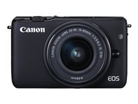 Canon EOS M10 - Digital camera - mirrorless - 18.0 MP - APS-C - 1080p / 30 fps - 3x optical zoom EF-M 15-45mm IS lens - Wi-Fi, NFC - black
