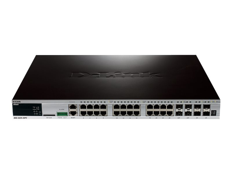 D-Link xStack DGS-3420-28PC - switch - 24 ports - managed - rack-mountable