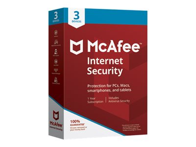 McAfee Internet Security Box pack (1 year) 3 devices Win, Mac, Android, iOS English