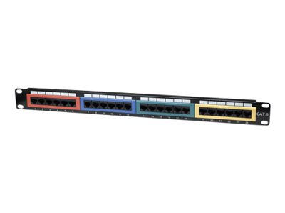 Intellinet Cat6 Color-Coded - Patch Panel - RJ-45 X 24 - 1U - 48.3 cm (19