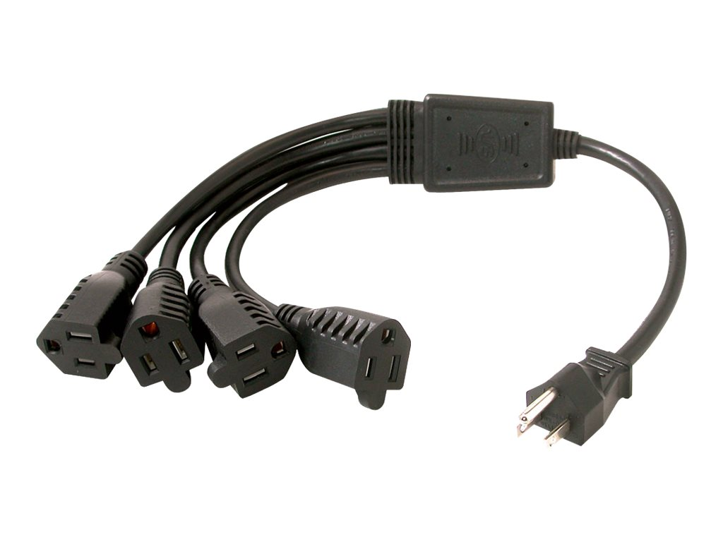 C2G 18in 16 AWG 1-to-4 Power Cord Splitter 1 NEMA 5-15P to 4 NEMA 5-15R TAA - power splitter - 36 cm