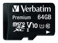 Verbatim Premium - Flash memory card (SD adapter included) - 64 GB - Class 10 - microSDXC UHS-I