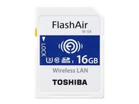 Toshiba FlashAir W-04 - Wireless-Speicherkarte - 16 GB - UHS-I U3 / Class10 - SDHC - Wi-Fi