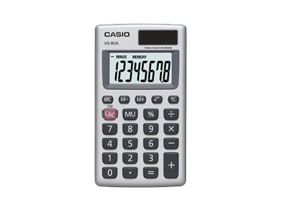 Casio HS-8VA Pocket calculator 8 digits solar panel, battery