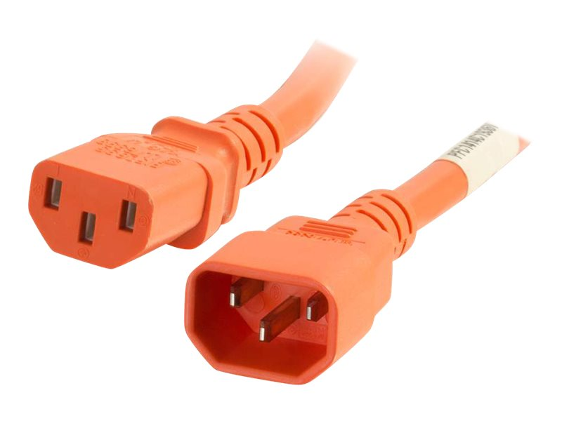 C2G 6ft 18AWG Power Cord (IEC320C14 to IEC320C13) - Orange - power cable - 1.83 m