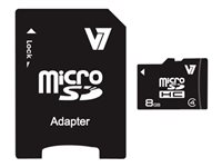 V7 Flash memory card (microSDHC to SD adapter included) 8 GB Class 4 microSDHC