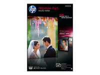 HP Premium Plus Photo Paper - Brillant - 100 x 150 mm - 300 g/m² - 50 feuille(s) papier photo - pour Envy 5055, 7645; Officejet 5255, 76XX; PageWide MFP 377; PageWide Pro 452; Photosmart 5525