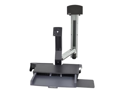 Ergotron StyleView Sit-Stand Combo System with Worksurface and Small CPU Holder