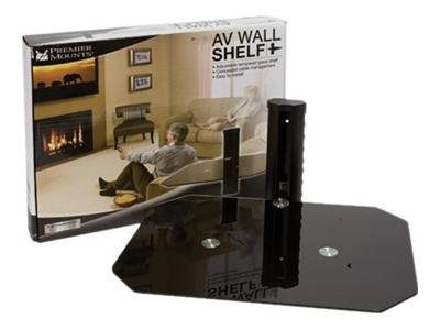 Premier Mounts Entertainment Series AV Wall Shelf Stand tempered glass black