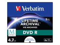 Verbatim M-Disc - 5 x DVD-R - 4.7 GB 4x - ink jet printable surface - jewel case
