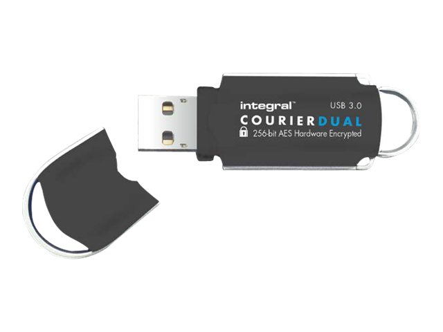 Integral Memory Integral Courier Dual FIPS 197 Encrypted USB 3.0 - USB-Flash-Laufwerk - verschlüsselt - 8 GB - USB 3.0