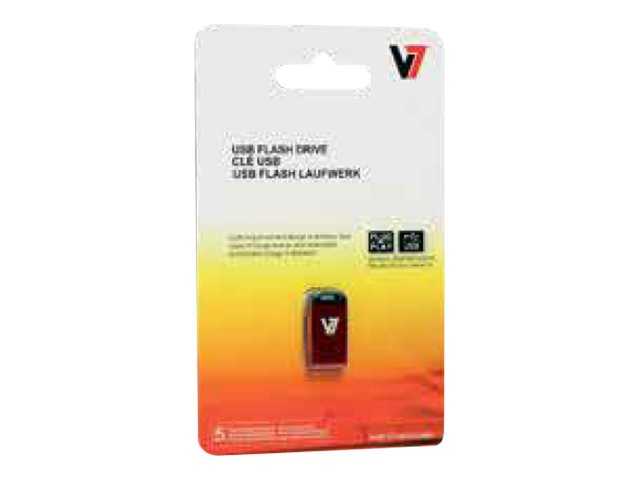 V7 VU232GCR-RED-2E - USB-Flash-Laufwerk - 32 GB - USB 2.0 - Rot