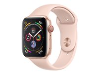 "Apple Watch Series 4 (GPS + Cellular) - 44 mm - or-aluminium - montre intelligente avec bande sport - fluoroélastomère - sable rose - taille de bande 140-210 mm - affichage 1.78"" - 16 Go - Wi-Fi, Bluetooth - 4G - 36.7 g"