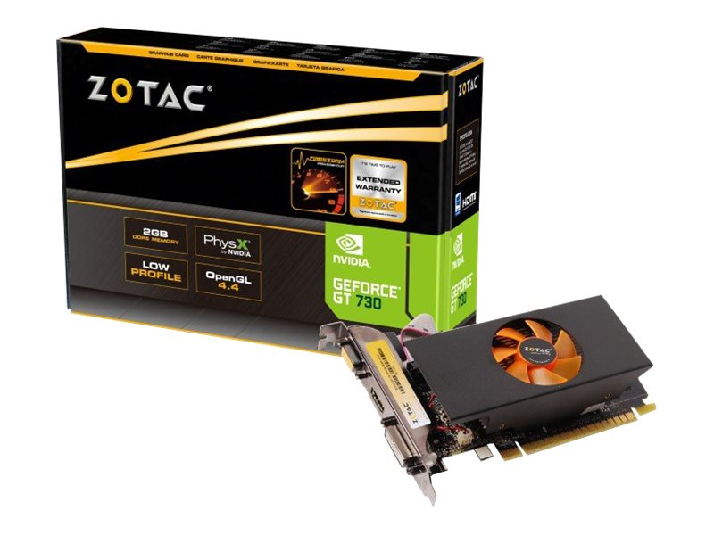 ZOTAC GeForce GT 730 - Grafikkarten - GF GT 730 - 2 GB GDDR5 - PCIe 2.0 x16 Low Profile - DVI, D-Sub, HDMI