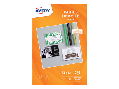 Cartes de visites Avery - 80 Cartes de Visite blanches à Bords Lisses - 85 x 54mm - Impression Jet d'encre