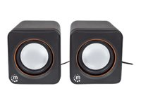 Manhattan 2600 Series Speaker System, Small Size, Big Sound, Two Speakers, Stereo, USB power, Output: 2x 3W, 3.5mm plug for sound, In-Line volume ...
