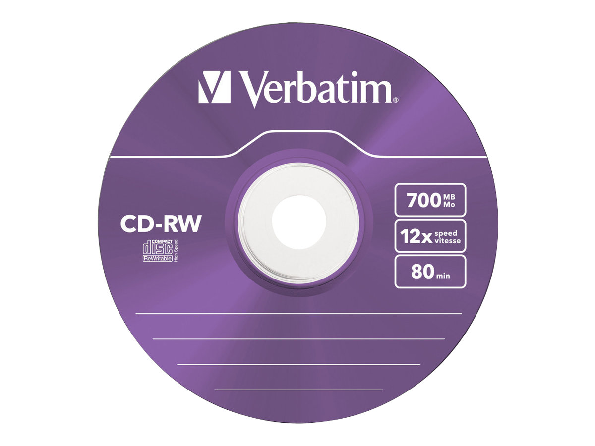 Verbatim DataLifePlus Hi-Speed - 5 x CD-RW - 700 MB (80 Min) 8x - 12x - Slim Jewel Case