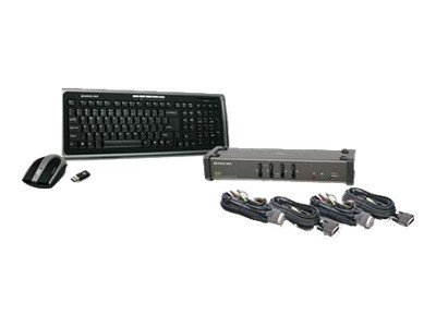 IOGEAR GCS1104 - KVM / audio / USB switch - 4 ports - with IOGEAR Wireless KB/Laser Mouse combo