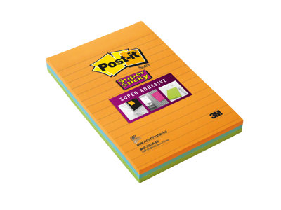 Notes repositionnables Notes Super Sticky Post-it Grands Formats - 101 x 152 mm - 3 blocs