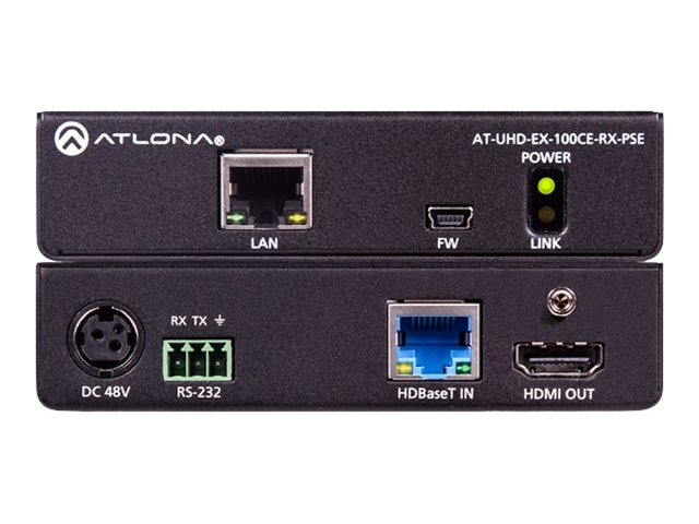 Atlona AT-UHD-EX-100CE-RX-PSE - video/audio/serial/network/power extender - HDBaseT