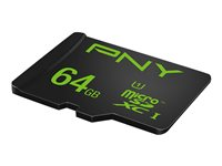 PNY High Performance - Carte mémoire flash (adaptateur microSDXC vers SD inclus(e)) - 64 Go - UHS-I U1 / Class10 - microSDXC UHS-I