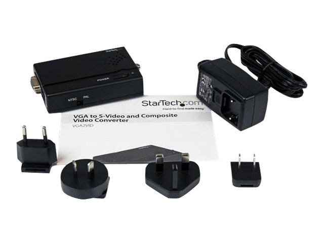 StarTech.com High Resolution VGA to Composite (RCA) or S-Video Converter - PC to TV Video Adapter - 1600x1200 RGB to TV (VGA2VID)