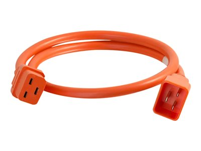 C2G 2ft 12AWG Power Cord (IEC320C20 to IEC320C19) Orange Power cable TAA Compliant